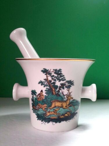 Germany Vtg Apothecary Set Mortar Pestle Fine Porcelain Hunt Decor Gold Green