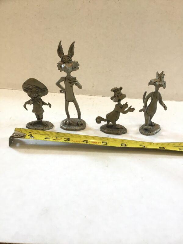 Lot of 4 Warner Bros Howard Eldon Pewter Figure Wile Speedy Sylvester Pepe LaPew