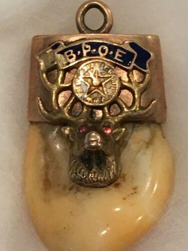Elk Lodge Elks Tooth Pendant 10 or 14 kt Gold. BPOE. 9.7 Grams.
