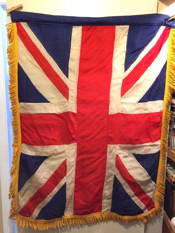 "WW2 Era Union Jack Flag Panel Stitched Weaved Cotton Holdens Ottawa Tassels 45"""