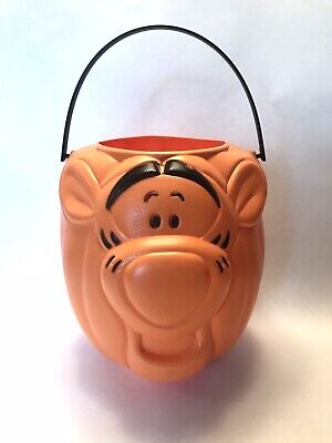 Halloween Tigger Pumpkin Plastic Trick or Treat Candy Bucket Blow Mold Disney