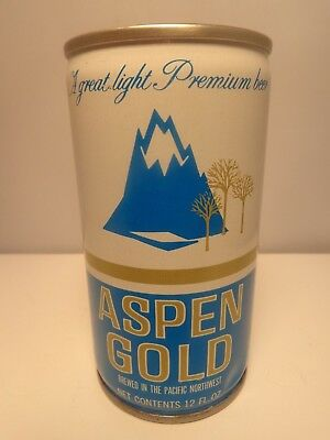 Aspen Gold Crimped Steel Pull Tab Beer Can  35 38 Blitz Weinhard Portland Oregon