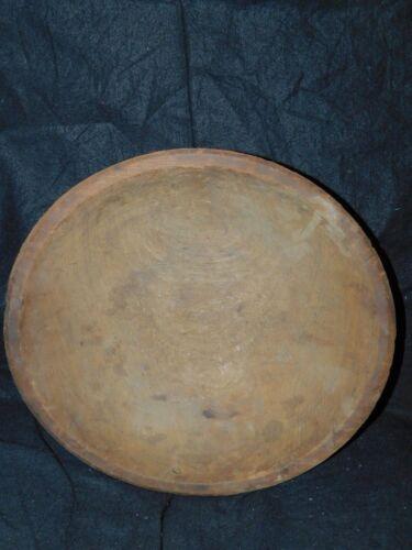 """ANTIQUE primitive 14 1/2"""" diameter wood wooden dough bowl"""