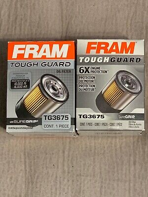 2 Pack Engine Oil Filter-Tough Guard Fram TG3675 SureGrip Conventional Synthe