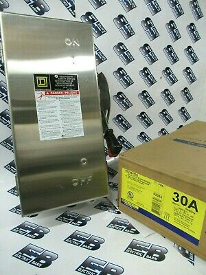 Square D Hu361ds 30 Amp 600 Volt 3 Pole Stainless Disconnect F Series- New