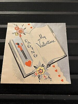 Vintage Greeting Card Valentine Black Silver Waiter Flowers