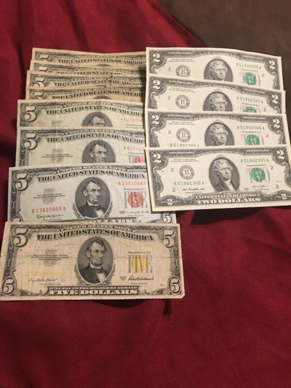 $5 & $2 DOLLAR US CURRENCY 12 NOTE SET / COLLECTION 1963,1953,2013