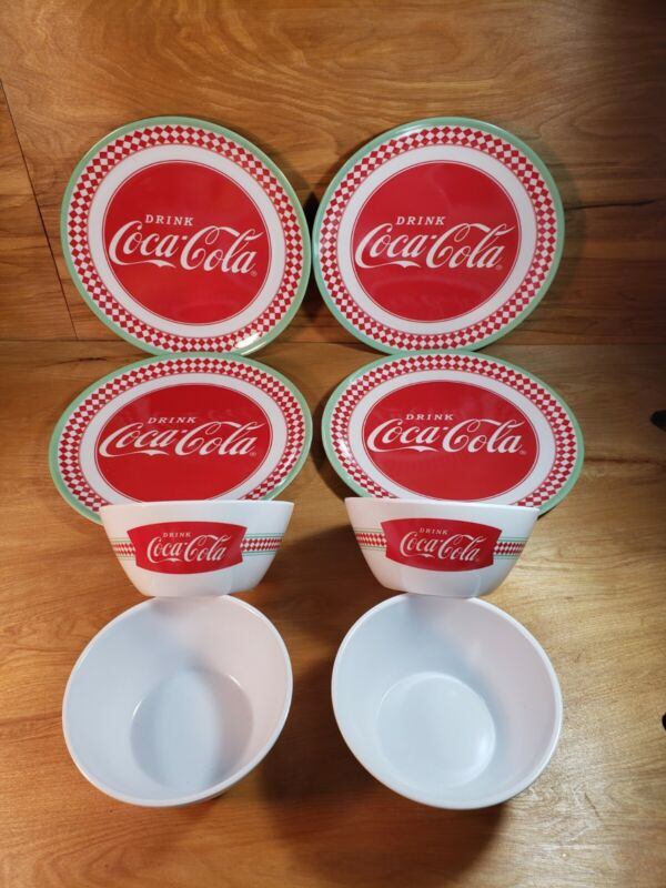NEW!! Coca Cola Dinner Plates & Bowls PLASTIC Collector 4 of each