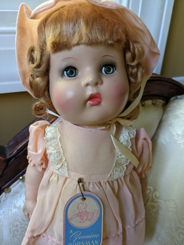 """Vintage Horsman Doll With Magic Skin Original Tag and Dress 14"""" Mint"""