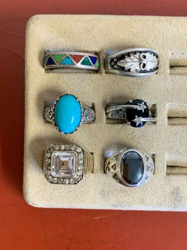 Lot of (6)  Sterling Silver Rings Sizes 10 and up  Lot # 62