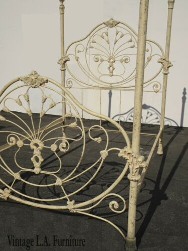 Antique French Country Off White Gold Gilt Iron Poster Bed Frame Queen Headboard