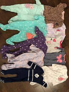 Girls 9 month sleepers lot