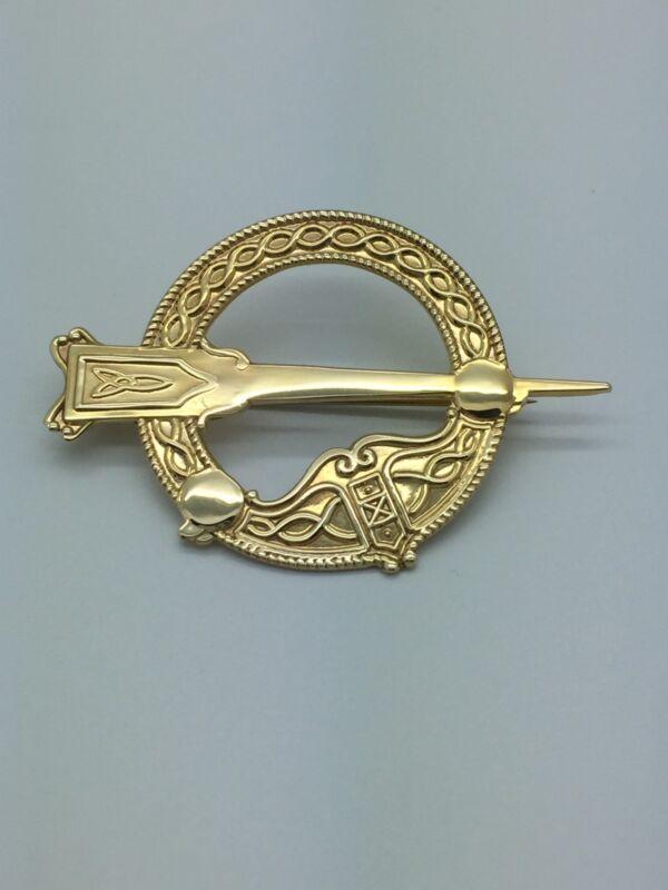 Vintage 9k Yellow Gold Celtic Scottish Pin Brooch Estate