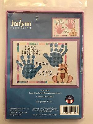 Janlynn BABY HANDPRINTS BIRTH ANNOUNCEMENT Cross Stitch Kit w/ Frame - NIP