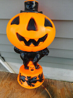Vintage Empire Halloween Lighted Blowmold Pumpkin on Black Cat Flying Witches