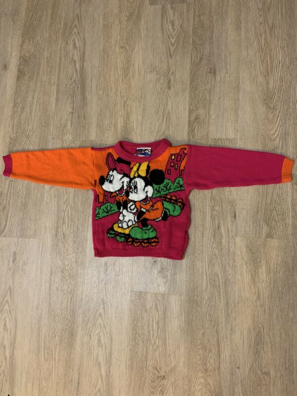 Mickey And Minnie Mouse Sweater Kids VINTAGE