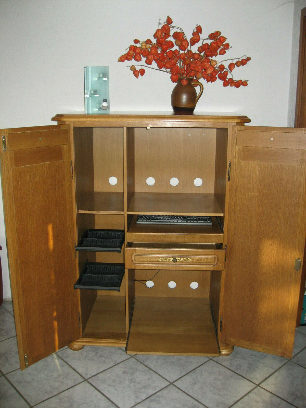 Computerschrank Eiche, sehr schwerer PC Schrank, Büroschrank, 140 x 100 x 60 cm