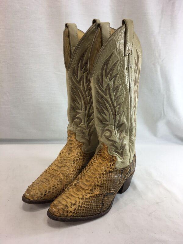 VTG, Justin, Snakeskin, Cowboy, Boots, Mens, 5.5, Beige, Leather, Western, USA