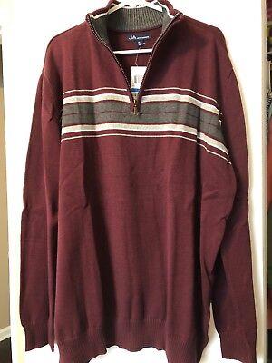 NWT John Ashford Men's 1/4 Zip Pullover Sweater, Red Plum, Chest Stripe, Sz XLT