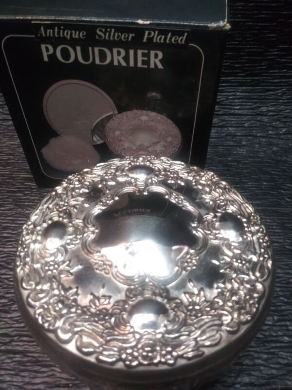 Vintage Sterling Silver plated Powder Jar Vanity Dresser Flower Ornate Glass box