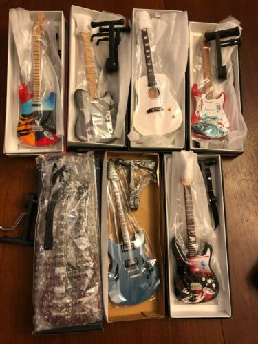 Huge Lot of 7 Mini Guitars -10 inches Kiss U2 Ozzy Jimmy Page Double Neck + More