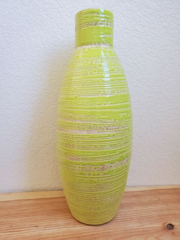 """Destinos S.A. Lime Green Portugal MCM Vase Textured 17""""x6"""" Large Striped *READ*"""