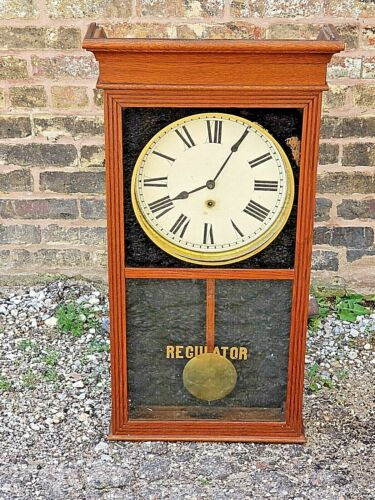 Sessions Antique Victorian Oak Tall Case regulator Wall Clock No. 2