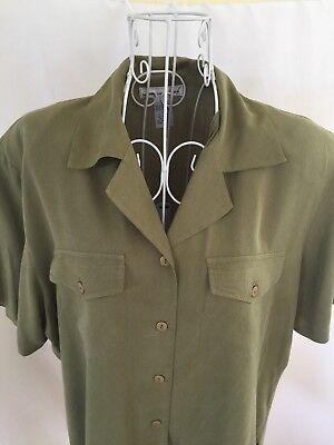 Anna Top - Anna And Frank Womens Ladies Green Silk Button Up Pockets SS Top