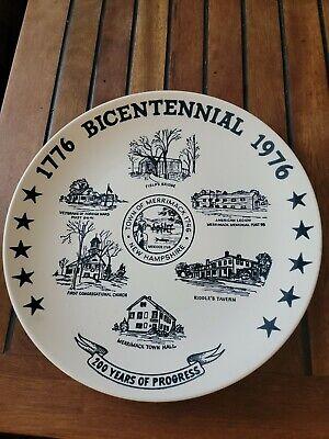 "Merrimack NH Collectible Plate BICENTENNIAL 1776-1976 KETTLESPRINGS KILNS 10"""