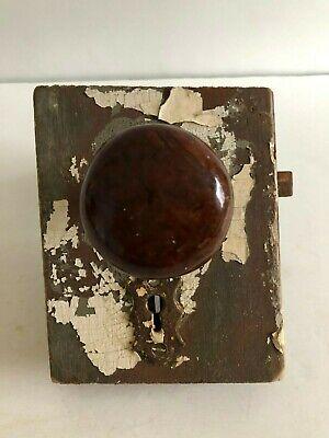 Antique Brown Swirl Door Knob Set W/Door Plates, Mortise Lock, Escutcheons VTG