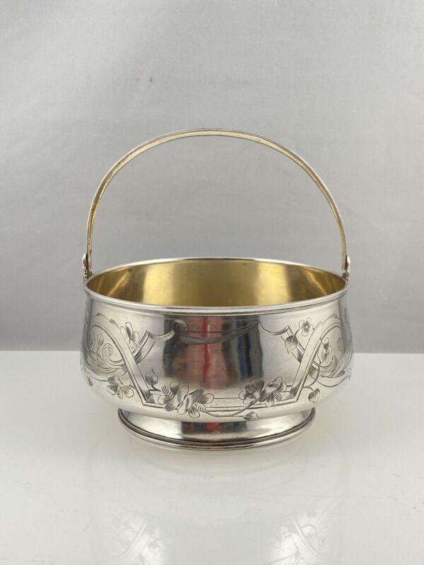 Russian Solid Silver Sugar Basket Art Nouveau Nikolay Strulev Moscow 1883–1908