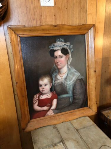 Circa 1820 American Portrait Mother and Child State of Maine Maple Frame