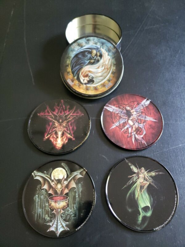 2008 Alchemy Carta England Gothic Occult Set Of 4 Corked Backed Drink Coasters