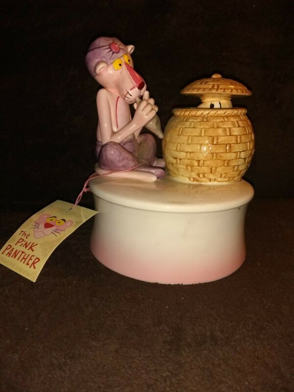 Vintage Royal Orleans Pink Panther Snake Charmer Music Box w/ Inspector Clouseau