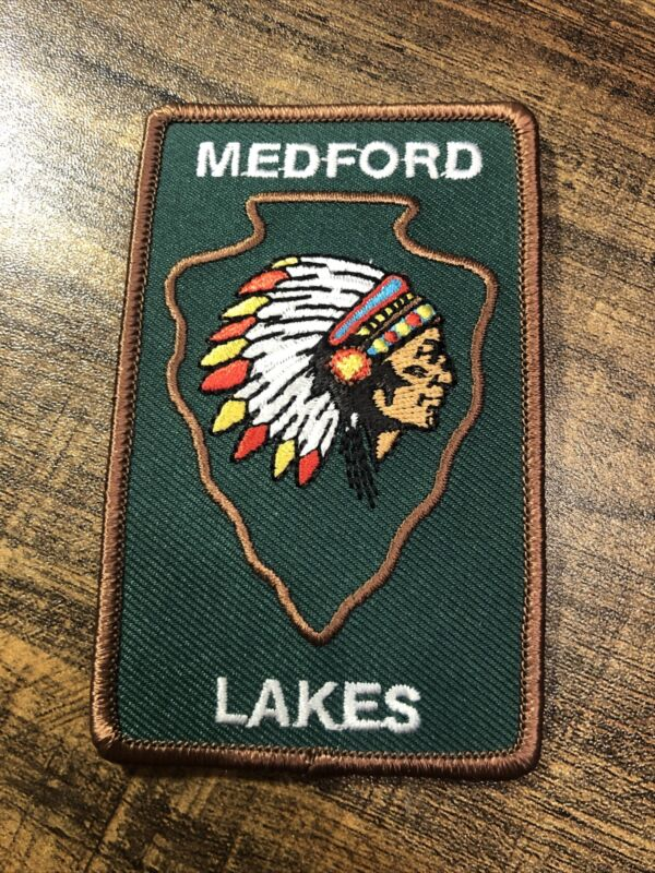 Medford Lakes Indian Head Embroidered Patch New Jersey Green