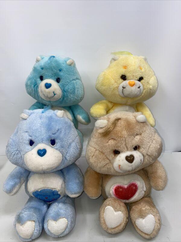 "Kenner 1983 4 Care Bear Lot Wish Funshine Grumpy Tenderheart 13"""