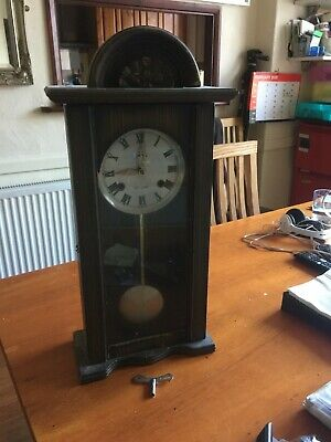 Old Wooden 30 day Pendulum Clock