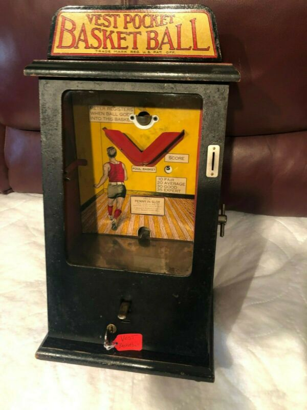 1929 Vest Pocket Basketball Penny Arcade Counter Top Game Original and Beautiful