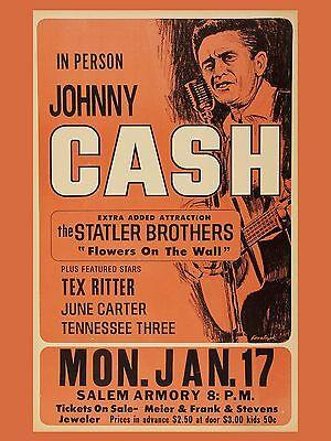 "Johnny Cash Salem 16"" x 12"" Photo Repro Concert Poster"