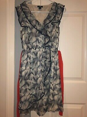 H&M Women's Dress size 8 Blue White Orange Ruffles