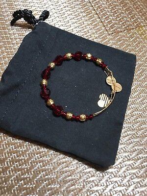 Alex and Ani Bloom/Red Beaded Swarovski Crystal Shiny Gold Bangle Bracelet (Alex And Ani Red Beaded Bracelet)