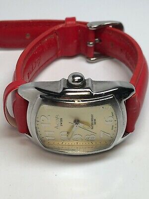 Activa Swiss Watch 495494 Red Leather Band Water Resistant Stainless Steel !!