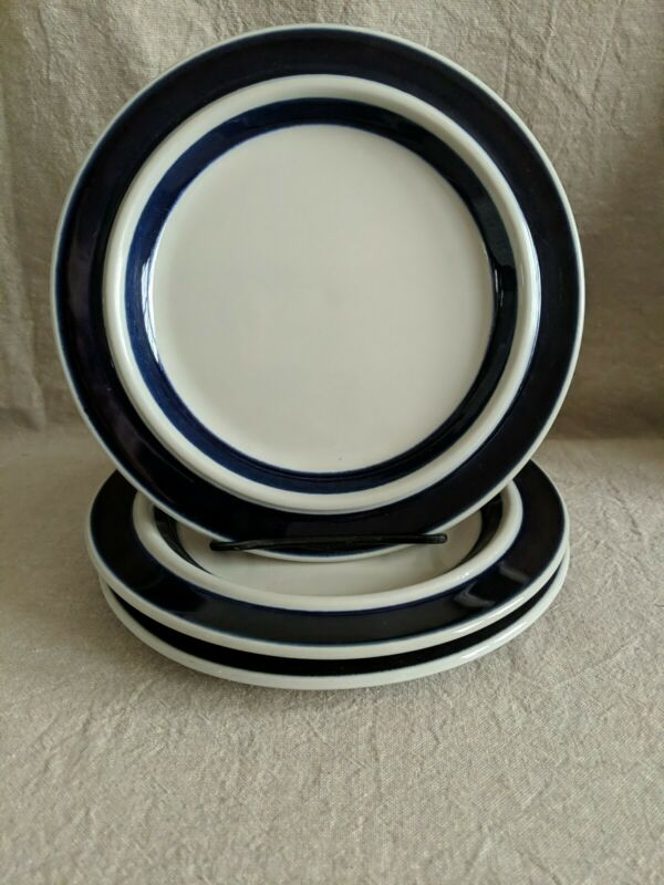 Arabia ANEMONE BLUE 3 Salad Plates EXCELLENT CONDITION