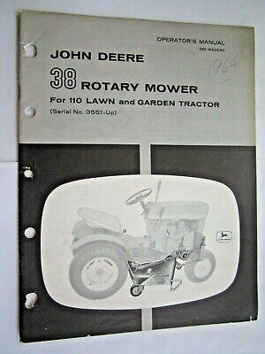 John Deere 110 Lawn Garden Tractor 38 Rotary Mower Operators Parts Manual