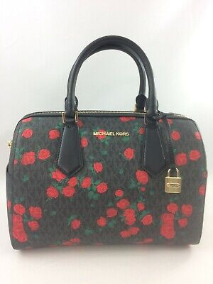 New Authentic Michael Kors Hayes Large Duffle Satchel Handbag Purse Black Red