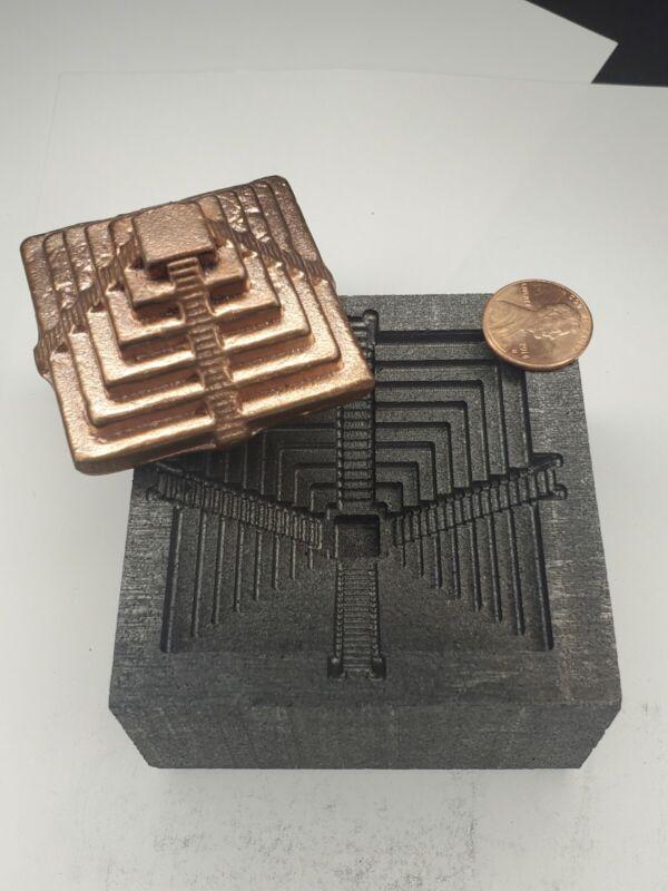 Pyramid 3D Graphite Ingot Mold Gold Silver Copper Tin Melting Casting Refining