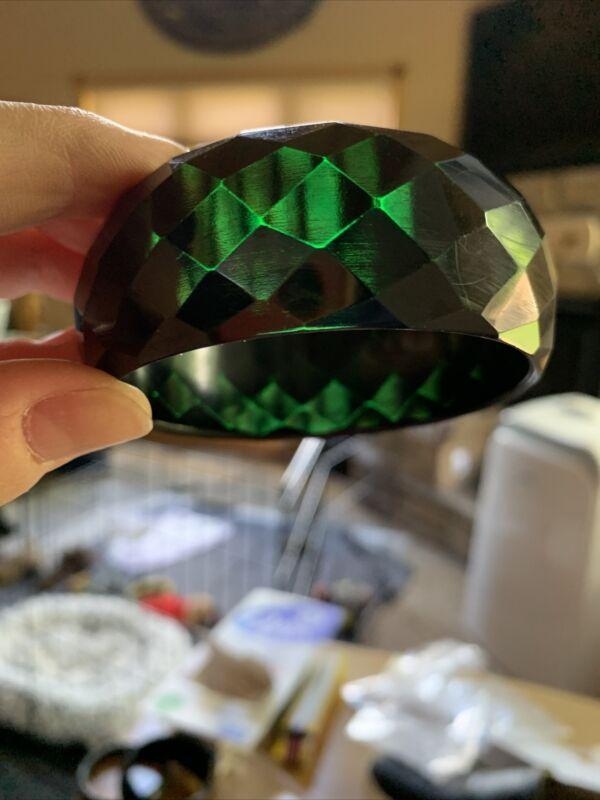 Vintage Green Prystal Black Bakelite Bracelet Wide Diamond Shaped Facets Tested
