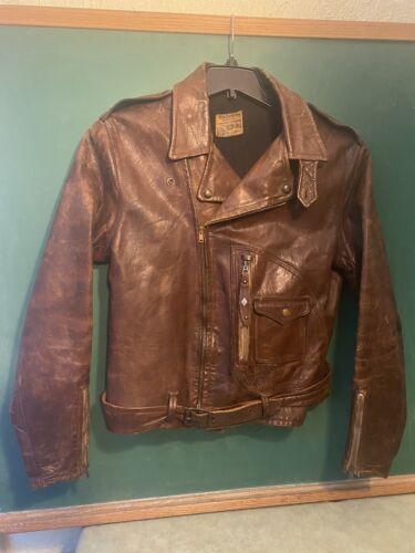 Vtg Northeaster Flying Tog Beck Horsehide D Pocket Motorcycle Leather Jacket 38