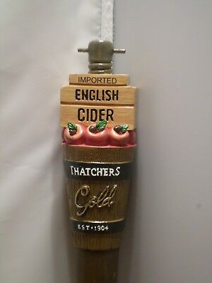 "New Thatchers Gold English Cider Tapped Barrel Cherries 10"" Beer Keg Tap Handle"