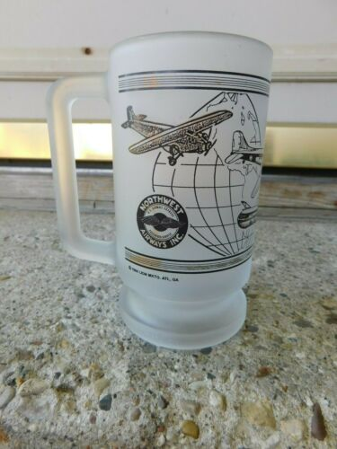 VINTAGE FROSTED GLASS NORTHWEST AIRLINES HEAVY GLASS MUG